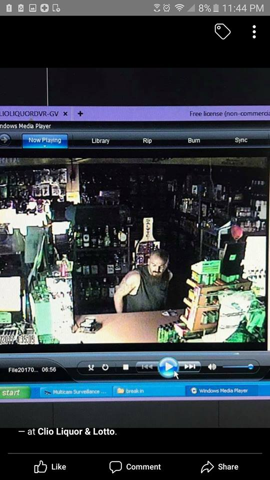 Police need your help identifying a man who they say broke into Clio Liquor and Lotto. (Photo Credit: Clio Roadhouse)