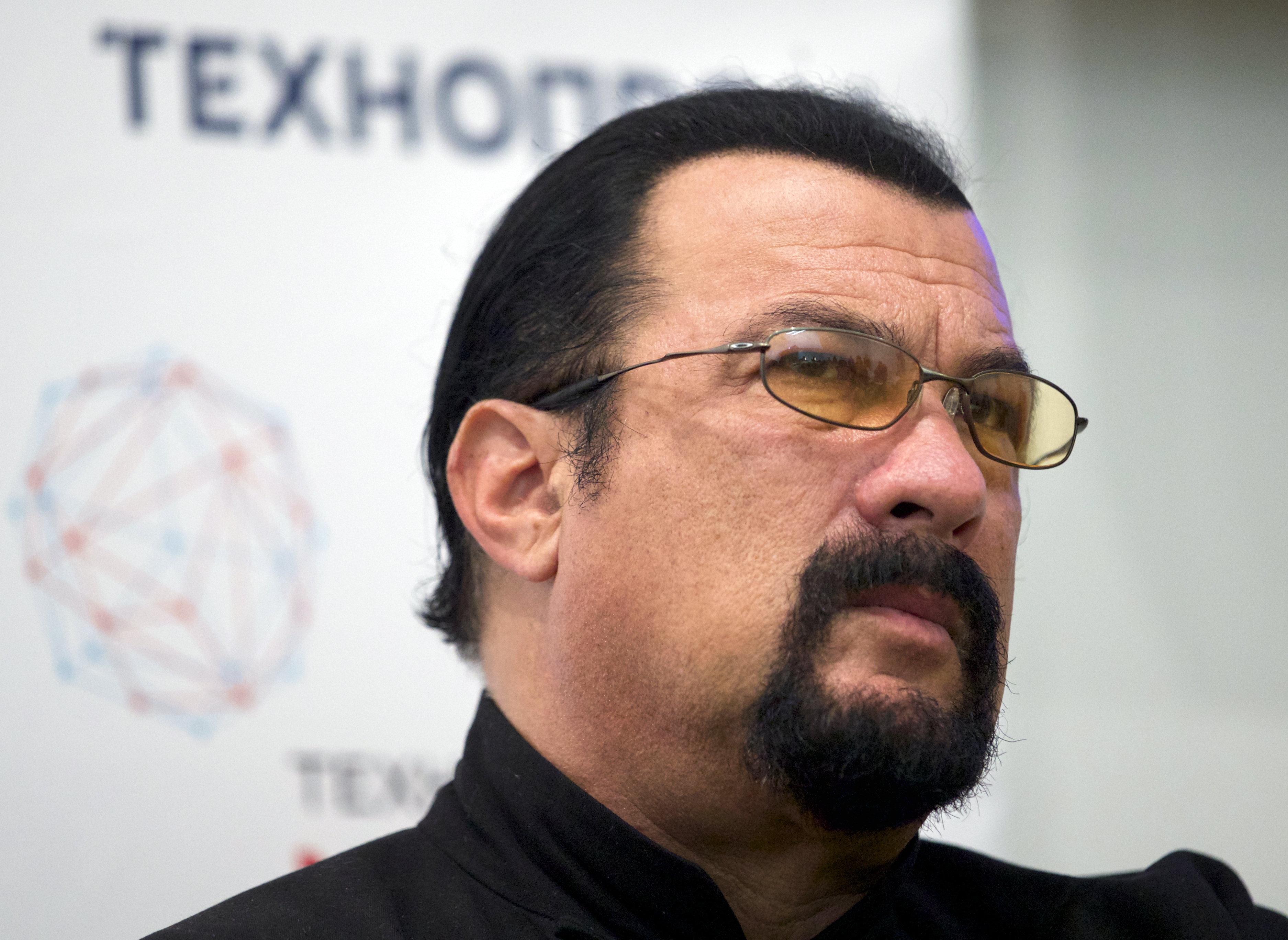 FILE - In this Sept. 22, 2015, file photo, actor Steven Seagal speaks at a news conference, while attending an opening ceremony for a research and development center in Moscow, Russia.{&amp;nbsp;} (AP Photo/Ivan Sekretarev, File)<p></p>