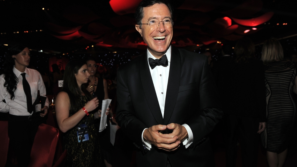This Sept. 23, 2012 file photo shows TV personality Stephen Colbert at the 64th Primetime Emmy Awards Governors Ball in Los Angeles. (Photo by Chris Pizzello/Invision/AP, File)