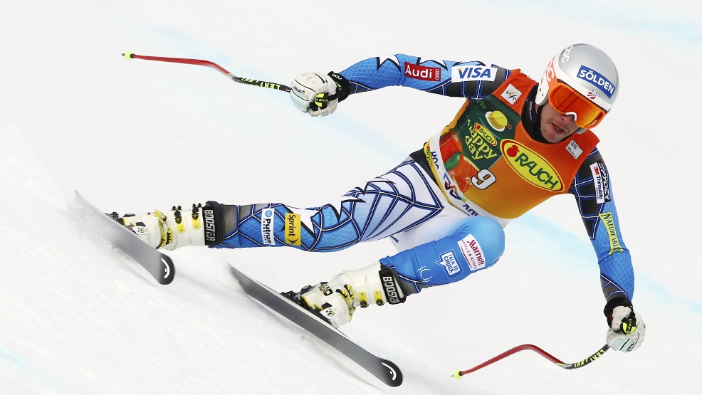 FILE - In this Feb. 12, 2012 file photo, Bode Miller, of the United States, speeds down the course during the downhill portion of an alpine ski, men's World Cup supercombined, at Rosa Khutor Alpine Center, in Krasnaya Polyana near Sochi, Russia. The slopes of Rosa Khutor Alpine Center, a venue of the 2014 Winter Olympics, have hosted just a single World Cup meeting each for men and women, totaling just three races in February 2012.  (AP Photo/Alessandro Trovati, File)