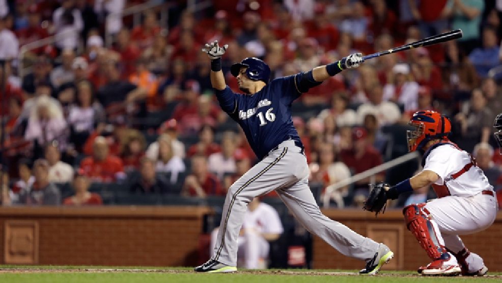 Milwaukee Brewers' Aramis Ramirez swings during the seventh inning of a baseball game against the St. Louis Cardinals Monday, April 28, 2014, in St. Louis. (AP Photo/Jeff Roberson)