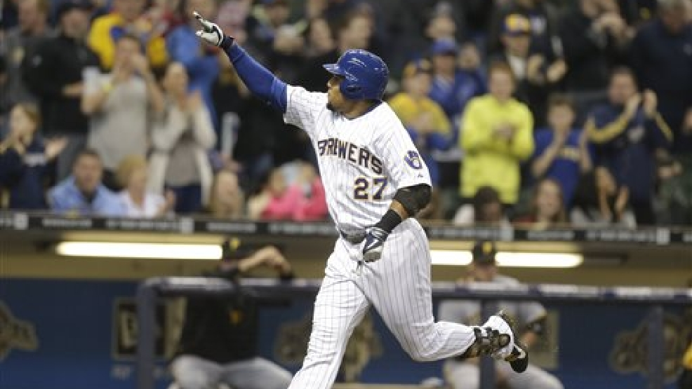 Milwaukee Brewers' Carlos Gomez reacts after his home run off Pittsburgh Pi