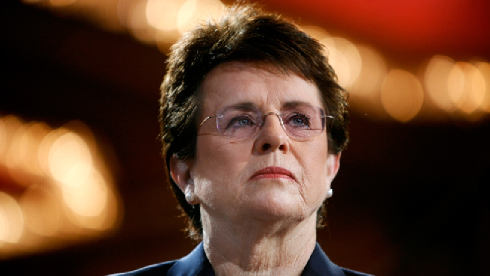 FILE - In this June 4, 2007, file photo, tennis champion Billie Jean King is introduced during a town hall conversation hosted by the group Women for Hillary in New York. (AP Photo/Jason DeCrow, File)