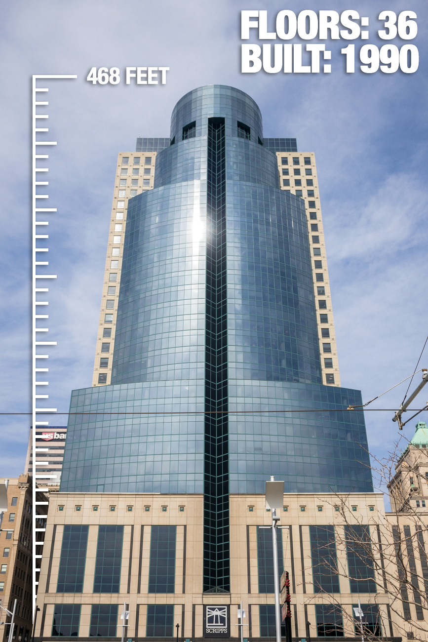 Scripps Center: 468 feet tall, 36 floors, built in 1990 / Image: Phil Armstrong, Cincinnati Refined // Published: 2.21.17