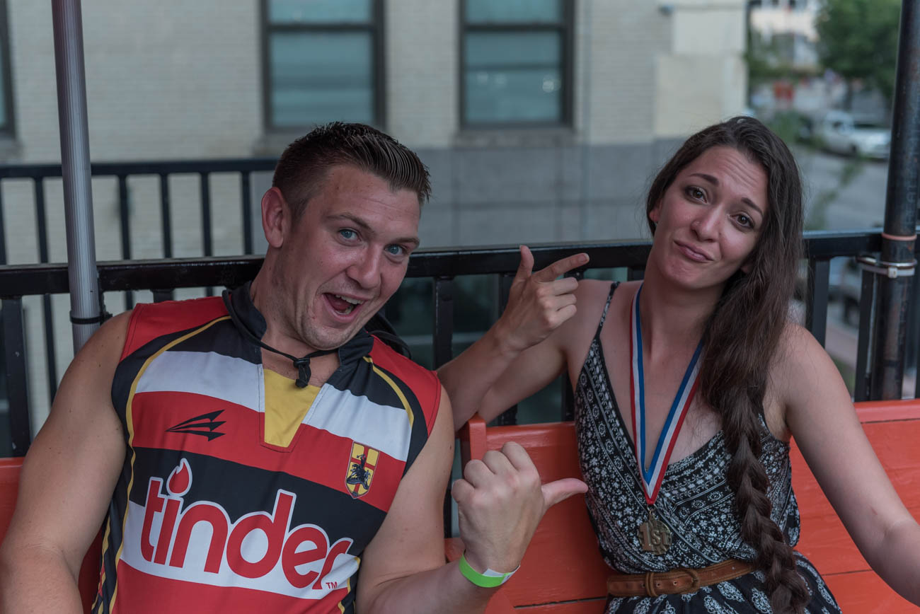 Sean Stanford and Rebecca Kuehl from the Queen City Rugby streetcar pub crawl / Image: Mike Menke // Published: 9.2.18