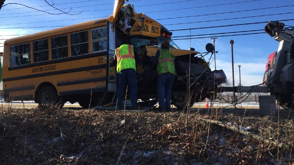 Sanford school bus slams into tree   WGME
