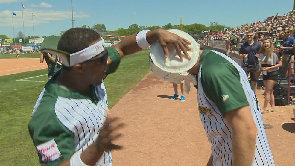 Packers wide receiver Jordy Nelson gets a pie in his face from fellow receiver Randall Cobb at the Jordy Nelson Charity Softball Game