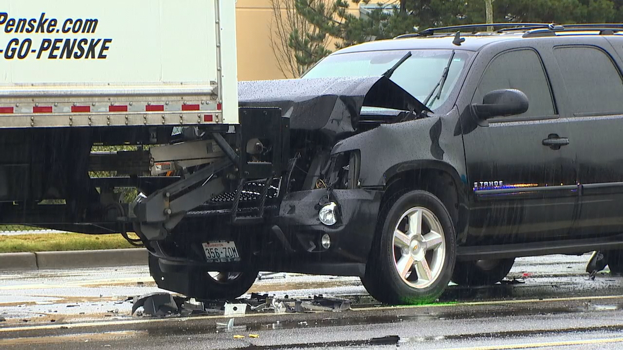 Tanner Munden, 38, died after his silver sedan was rear-ended, leading to a chain reaction crash in Fife on Monday, March 13, 2017.  (Photo: KOMO News)