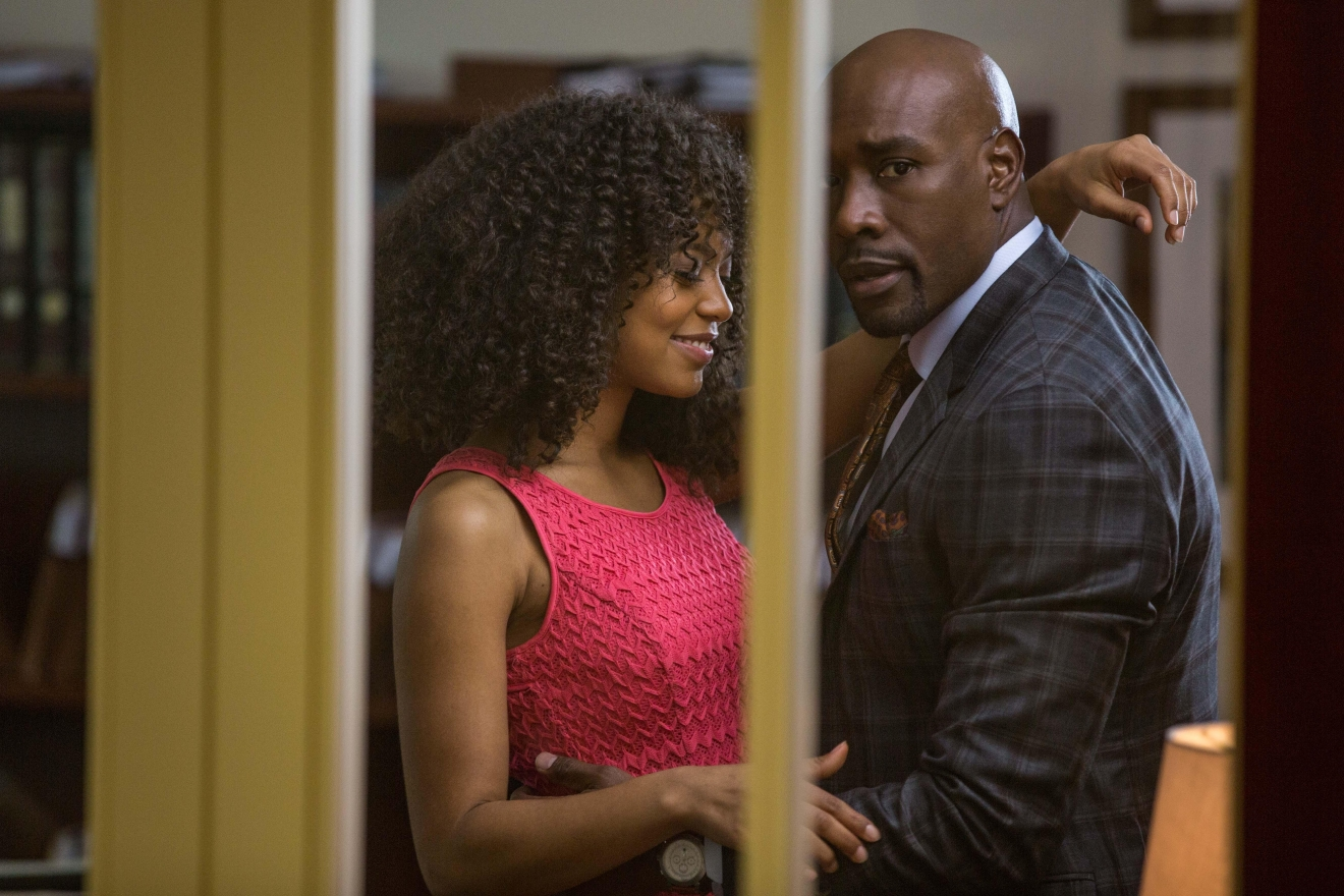 "John Taylor (Morris Chestnut) is uncomfortable as Anna Walsh (Jaz Sinclair) makes a scene in his office in Screen Gems' ""When the Bough Breaks."". Photo courtesy of Screen Gems/"