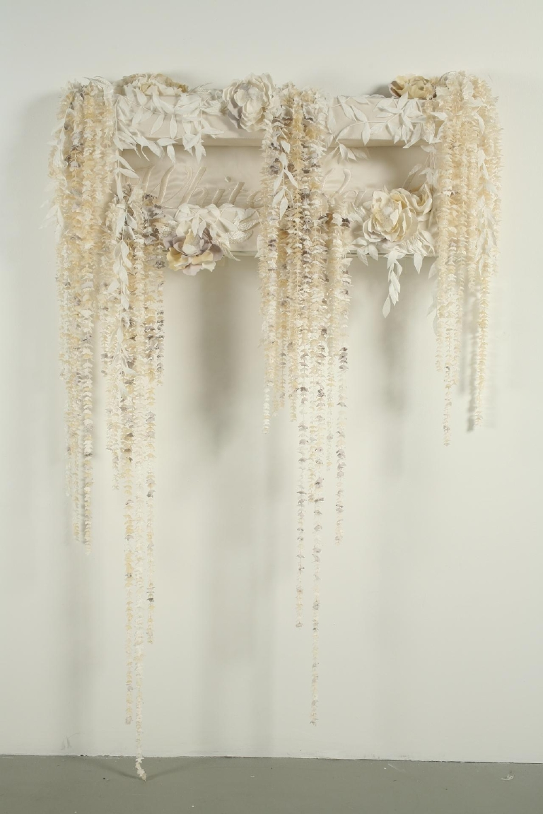 Permission for print, website, social press | The Choking Kind or White Wash, 2015, Mark Mitchell, silk, cotton, wool, leather, and wood, 73 x 46 x 8 in., Courtesy of the artist © Mark Mitchell | Photo by Mark Mitchell