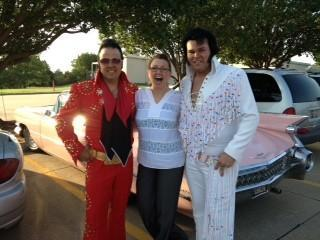 The Elvis tributes pose with Jen Jantzen, FOX 25's Assistant News Director