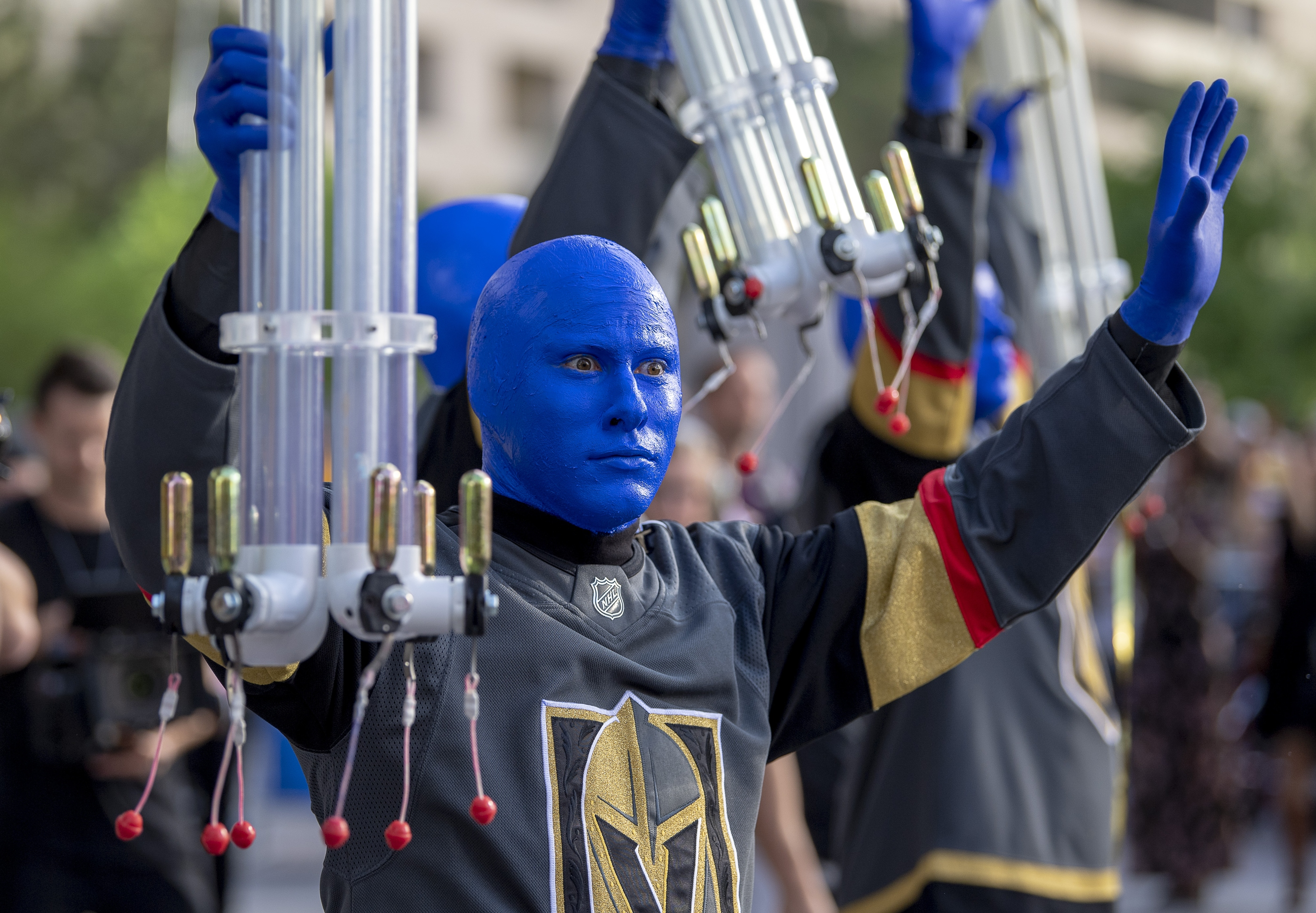 The Blue Man Group performs as aprt of the pre-game celebration in Toshiba Plaza as the Vegas Golden Knights prepare to meet the Los Angeles Kings in the first quarterfinal game of the NHL Stanley Cup Playoffs at T-Mobile Arena in Las Vegas on Wednesday, April 11, 2018.  CREDIT: Mark Damon/Las Vegas News Bureau