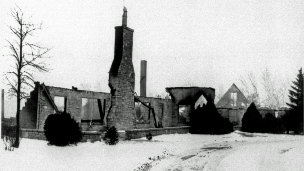 Rockwood Lodge, former Green Bay Packers training facility, is seen after a fire in January 1950.