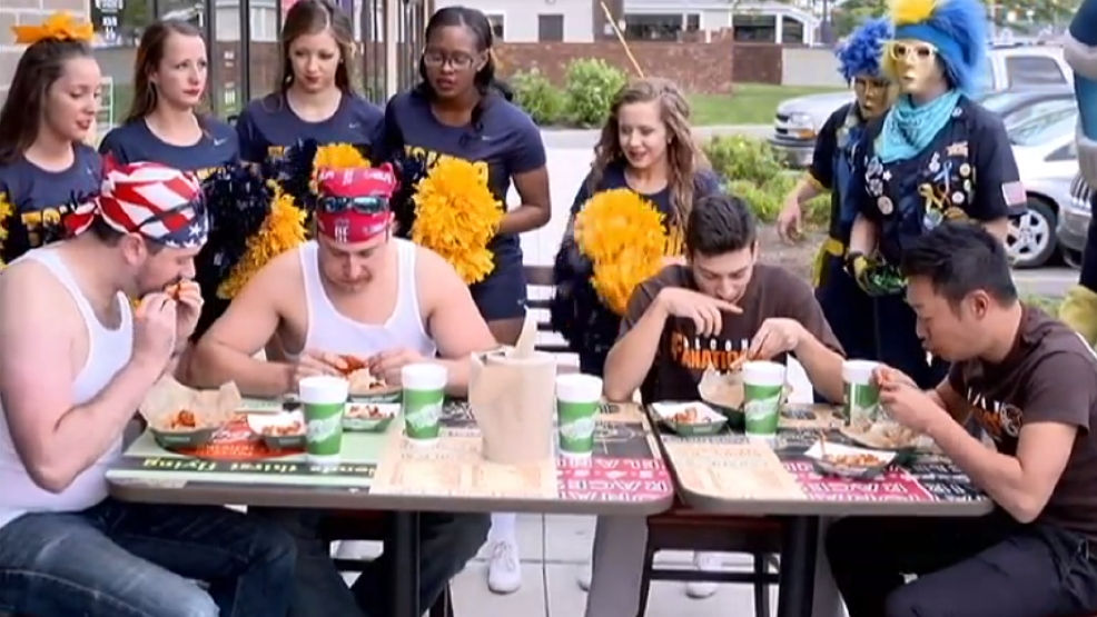 battle of i 75 wing eating contest at wingstop in toledo