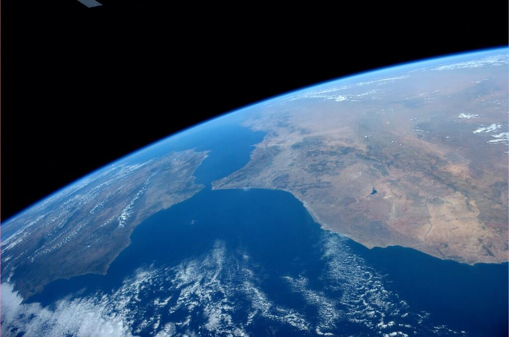 The gateway to the Mediterranean Sea on a stunningly clear day. (Photo & Caption: Reid Wiseman, NASA)