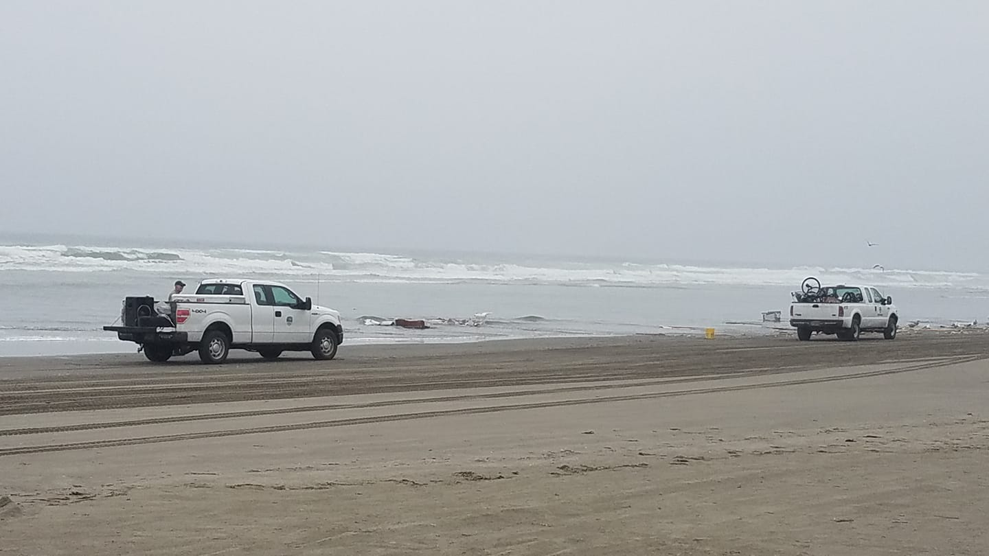 A van and trailer submerged in the surf on the Oregon coast on Aug. 22, 2018. Photo courtesy Jay Pitman{ }