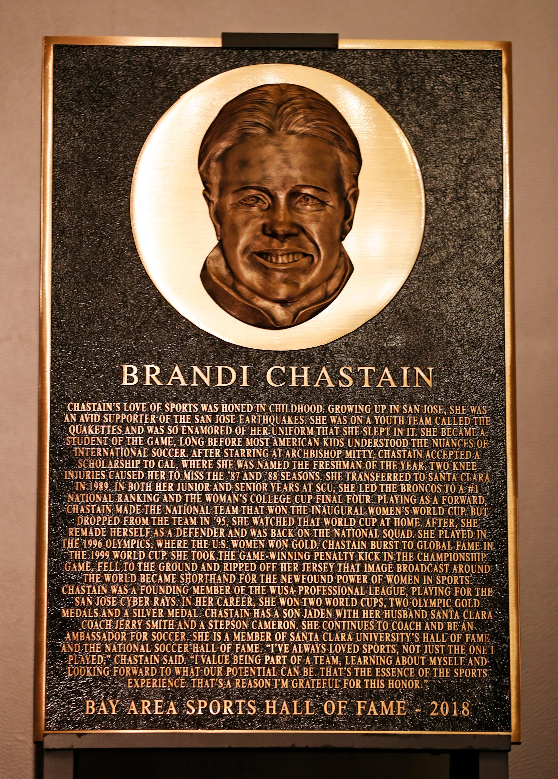 "In this photo taken Monday May 21, 2018, Bay Area Sports Hall of Hame inductee Brandi Chastain's plaque is displayed during a press conference in San Francisco. Social media is finding little to like about the likeness on a plaque honoring retired soccer champion Chastain. The Bay Area Sports Hall of Fame in San Francisco unveiled the plaque on Monday night. Chastain diplomatically said ""it's not the most flattering. But it's nice."" (Scott Strazzante/San Francisco Chronicle via AP)"