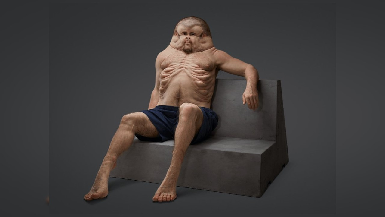 <p>&quot;Graham&quot; was created by an Australian transit organization to illustrate what humans would look like had they evolved to survive car crashes (Photo courtesy TAC)</p>