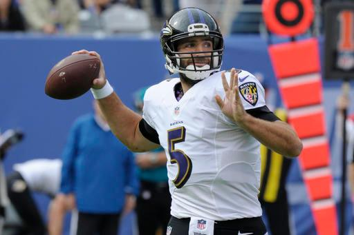 Baltimore Ravens quarterback Joe Flacco (5) throws a pass during the first half of an NFL football game against the New York Giants, Sunday, Oct. 16, 2016, in East Rutherford, N.J. (AP Photo/Bill Kostroun)
