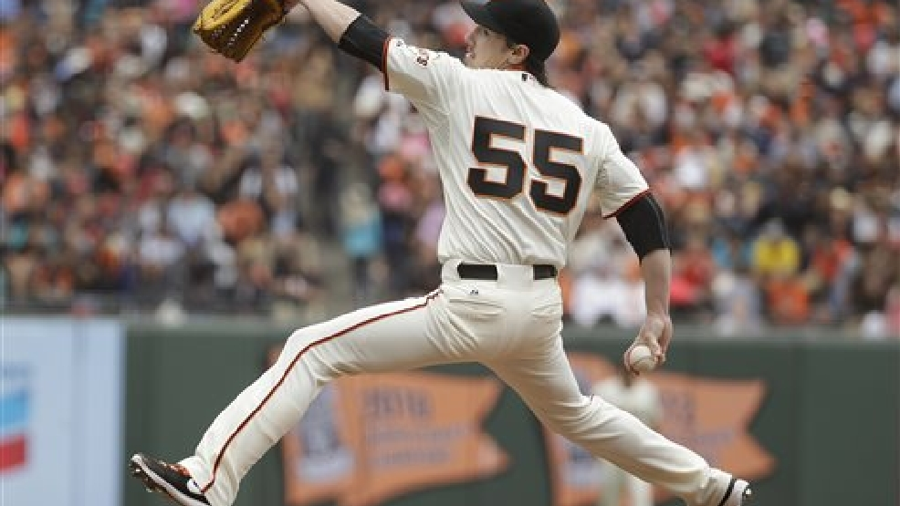 San Francisco Giants starting pitcher Tim Lincecum throws in the fifth inning of their baseball game against the San Diego Padres, Wednesday, June 25, 2014, in San Francisco. (AP Photo/Eric Risberg)