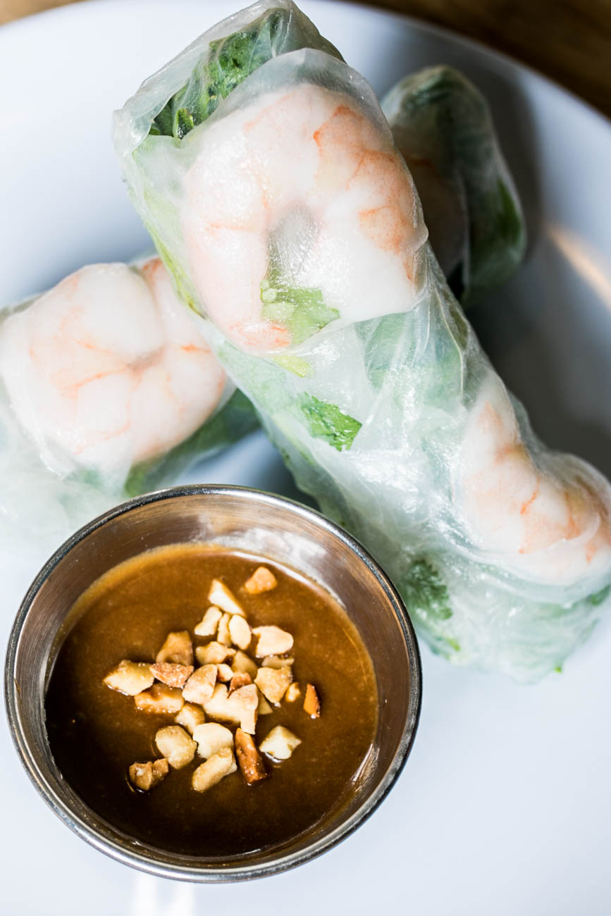 Goi Cuon (Salad Rolls): Poached pork, poached shrimp, rice noodles, cucumber, chives, mint, cilantro leaf lettuce, and rice paper wrap served with a side of peanut hoisin sauce / Image: Amy Elisabeth Spasoff // Published: 3.2.18