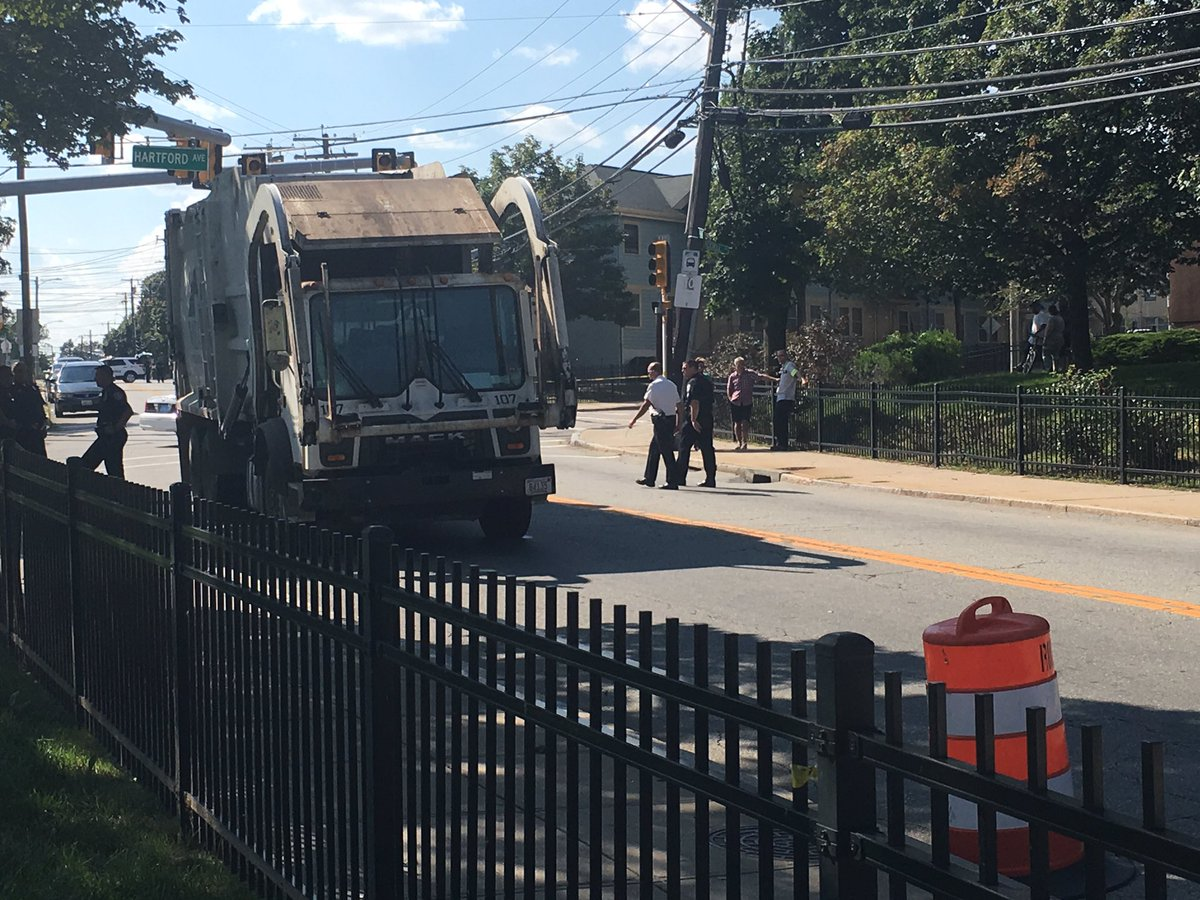 A 51-year-old woman was struck and killed by a garbage truck in Providence Wednesday, Aug. 9, 2017. (WJAR)