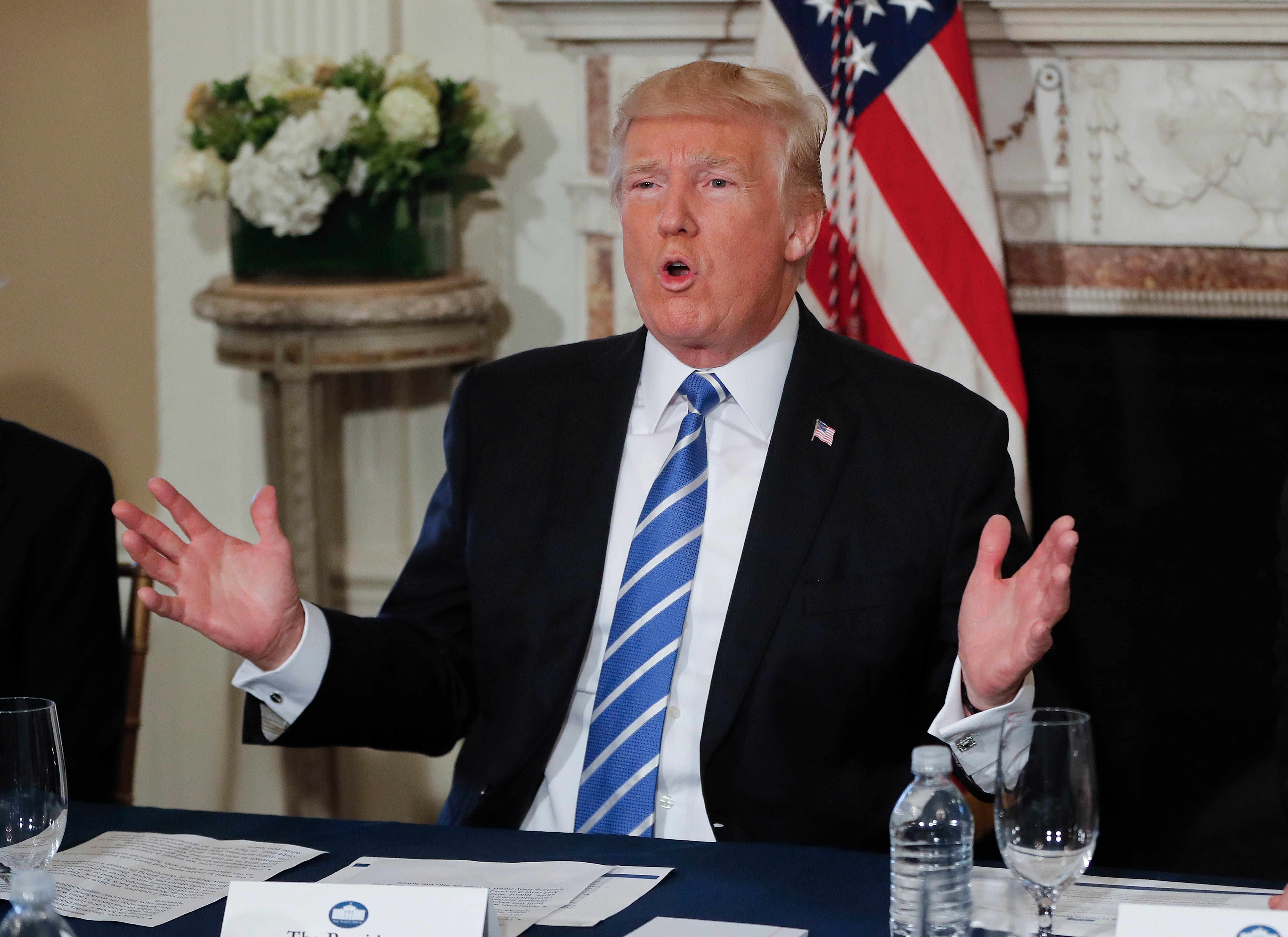 President Donald Trump gestures as he answers a question regarding the ongoing situation in North Korea, Friday, Aug. 11, 2017, at Trump National Golf Club in Bedminster, N.J. (AP Photo/Pablo Martinez Monsivais)