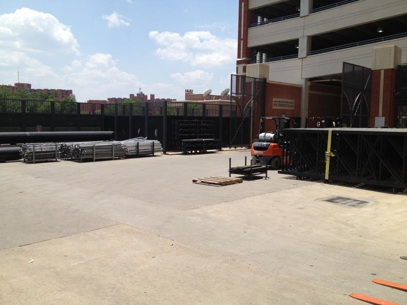 The stage arrived Tuesday when a seemingly endless line of trucks pulled in to Norman.It's in pieces now, but there's a lot to put together before Saturday.