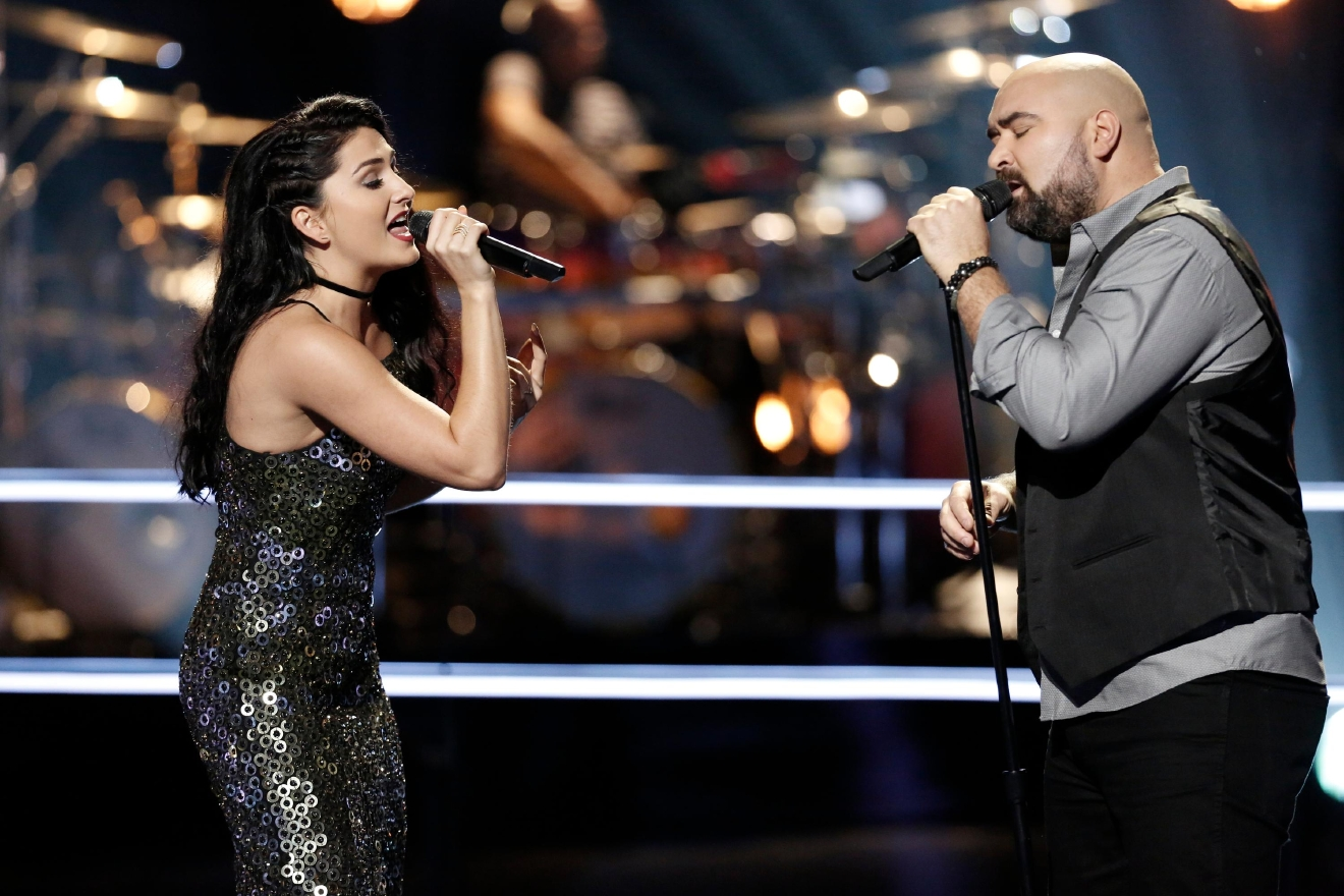 "Jozy Bernadette and Troy Ramey compete in a battle round on NBC's ""The Voice,"" Monday, March 27, 2017. (Tyler Golden/NBC)"