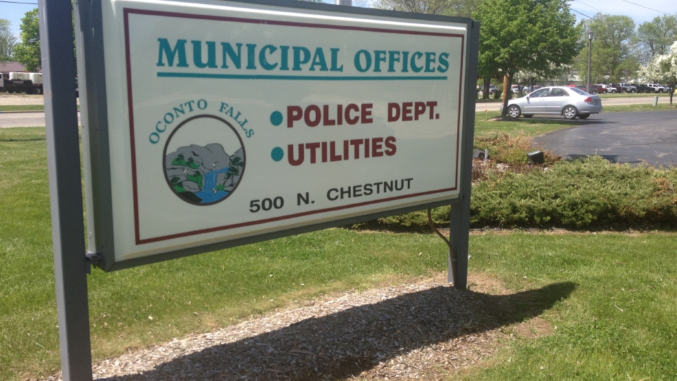 File: Oconto Falls Municipal building sign, as seen on May 29, 2014.