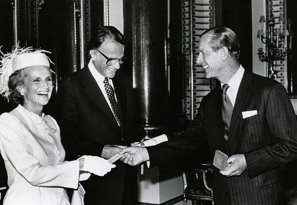 Ruth Bell Graham proudly smiling as Billy Graham received the 1982 Templeton Foundation Prize for Progress in Religion at Buckingham Palace. (Photo: Billy Graham Evangelistic Association)