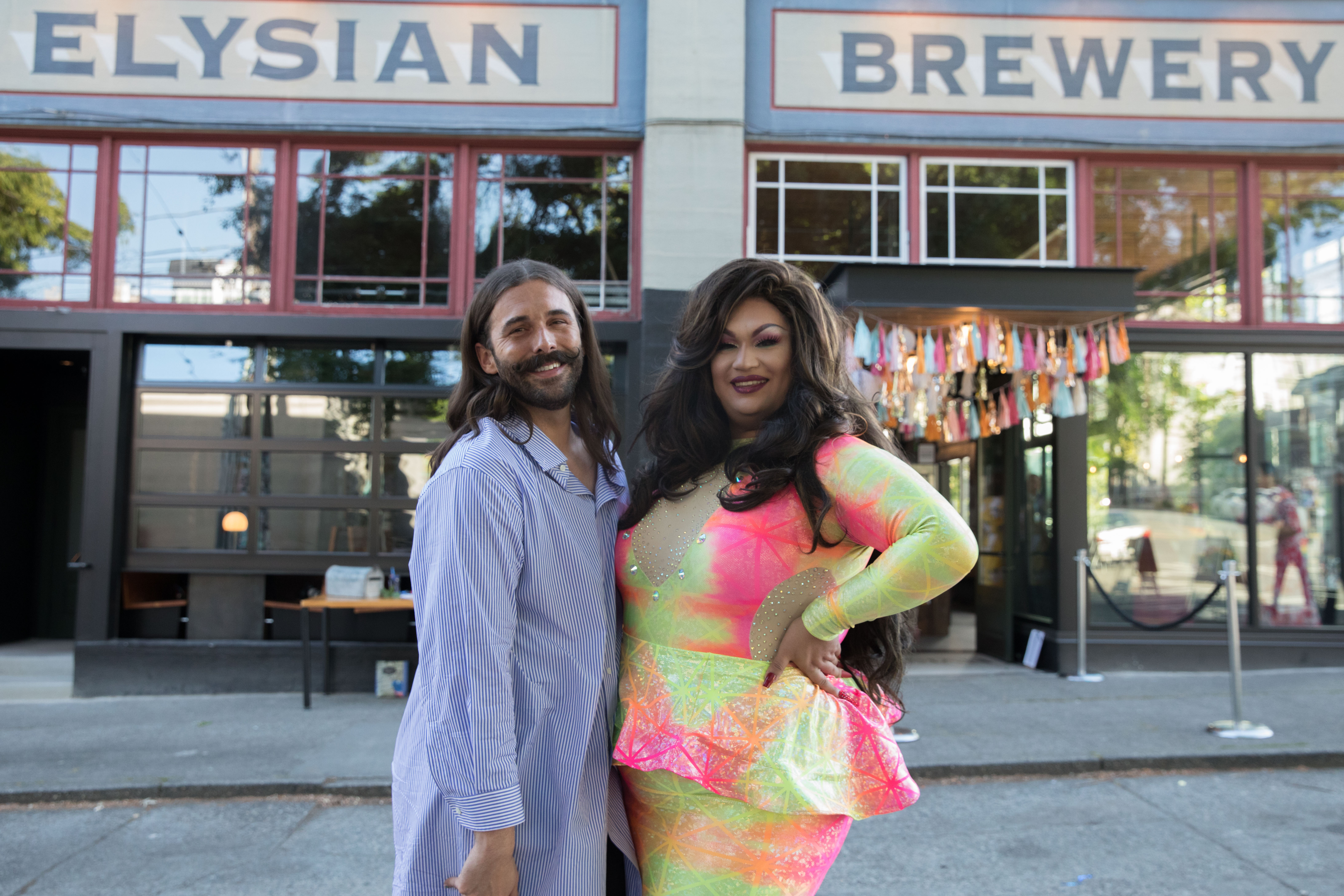 Jonathan Van Ness (left) poses with Ada Vox (right) at the #MarryUsJVN Wedding at Elysian Brewing's Capitol Hill brewpub on June 4, 2019, in Seattle. (Photo by Matt Mills McKnight/Invision for Elysian Brewing/AP Images)