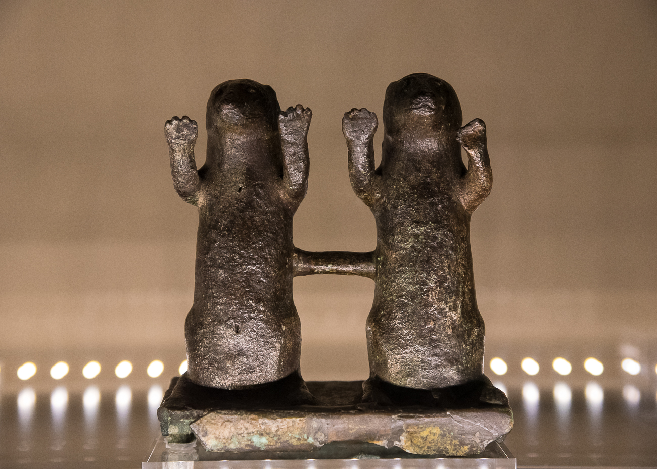 A pair of bronze Egyptian mongooses created sometime between the 6th century and 3rd century BC{ }/ Image: Phil Armstrong, Cincinnati Refined // Published: 2.15.19