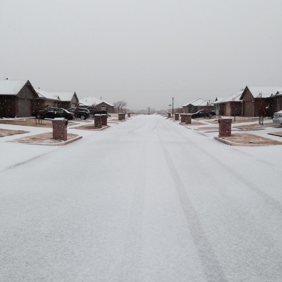 Snow in north Edmond.