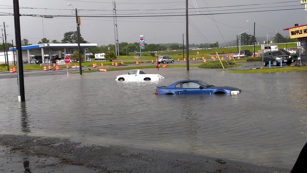 Flash flooding at Exit 185 in Oxford on Wednesday, April 17, 2013.