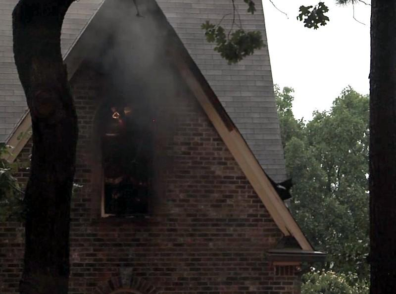 Fire, sparked by lightning, damaged this home in Hoover Wednesday evening.