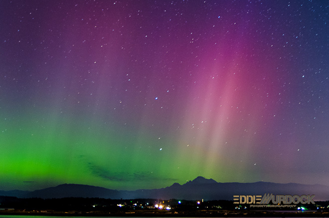 Northern Lights shine over Puget Sound. (Photo courtesy Eddie Murdock Photography