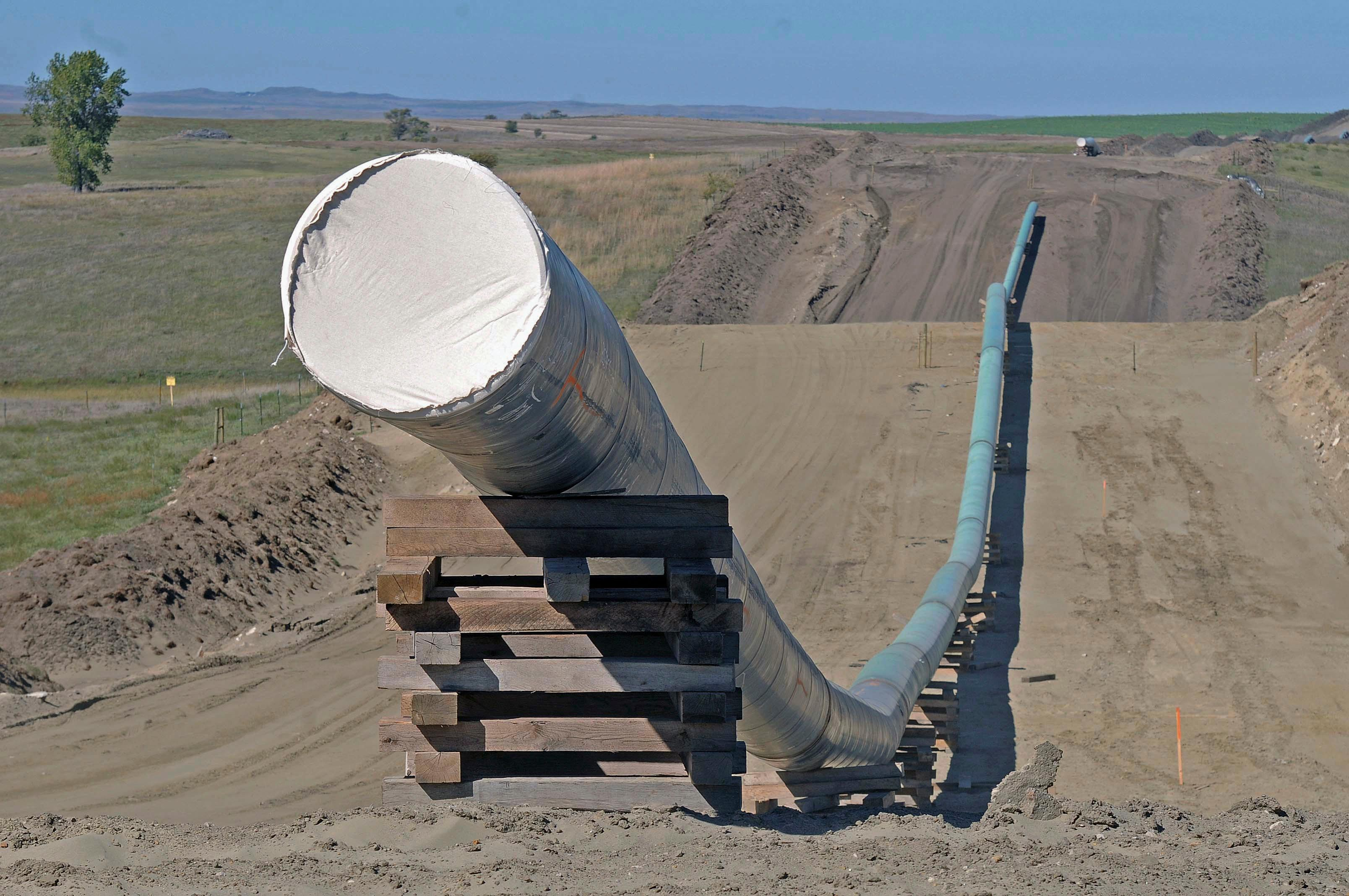 FILE - This Sept. 29, 2016, file photo, shows a section of the Dakota Access pipeline under construction near St. Anthony in Morton County, N.D. (Tom Stromme/The Bismarck Tribune via AP, File)