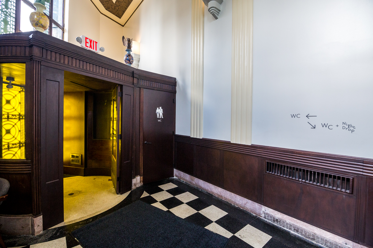 PLACE #3: Branch / ADDRESS: 1535 Madison Road (45206) / All of the decor in Branch—a former 1920s bank-turned-restaurant in East Walnut Hills—is stylish, the bathroom included. What makes it selfie-worthy, though, is the quirky owl wallpaper and gold-toned mirror paired with fantastic lighting. / Image: Catherine Viox // Published: 8.8.19