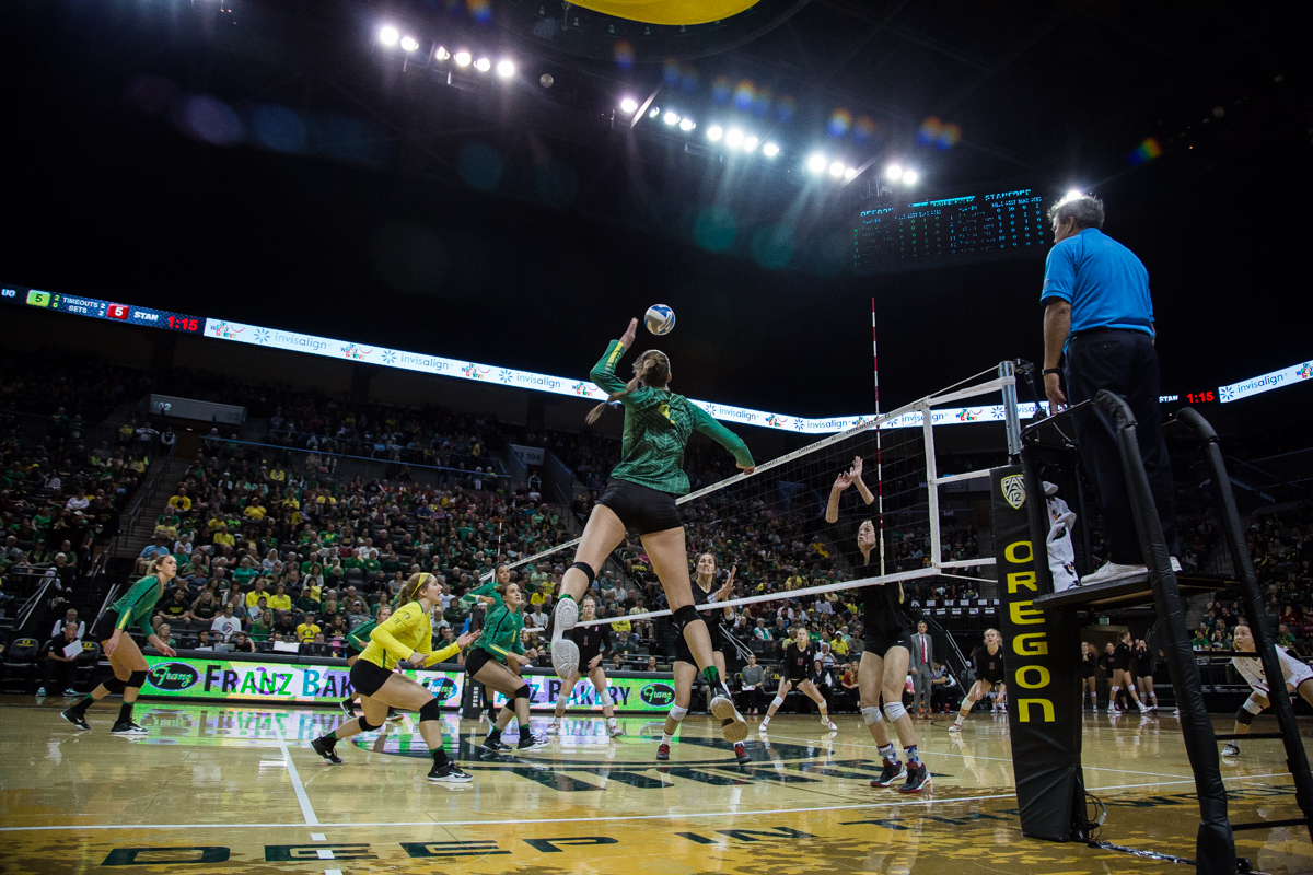 The Oregon volleyball team fell to the the Stanford Cardinal, the defending national champions, in three straight sets Friday night. There were 5,872 people in attendance, the second most at an Oregon volleyball game ever. Photo by Dillon Vibes