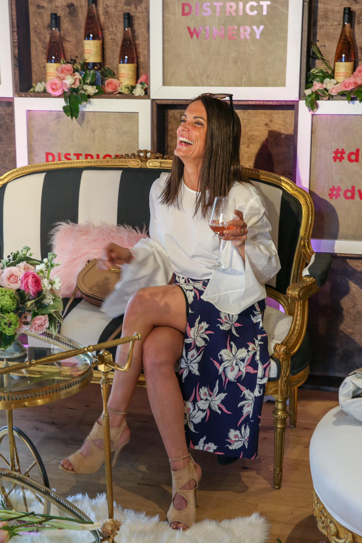 Sylvia Colella always exudes French Girl Cool, but she outdid herself with the orchid skirt and structured top.{ }(Amanda Andrade-Rhoades/DC Refined)