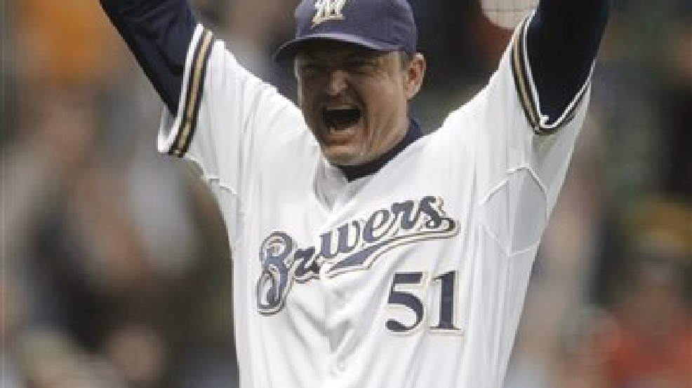 FILE-This Sept. 7, 2010 file photo shows Milwaukee Brewers relief pitcher Trevor Hoffman reacting after St. Louis Cardinals' Aaron Miles grounded out for the final out of a baseball game in Milwaukee. Hoffman picked up his career 600th save as the Brewers won 4-2.  The All-time saves leader  is retiring at age 43 and will take a job in the San Diego Padres' front office.  (AP Photo/Morry Gash)