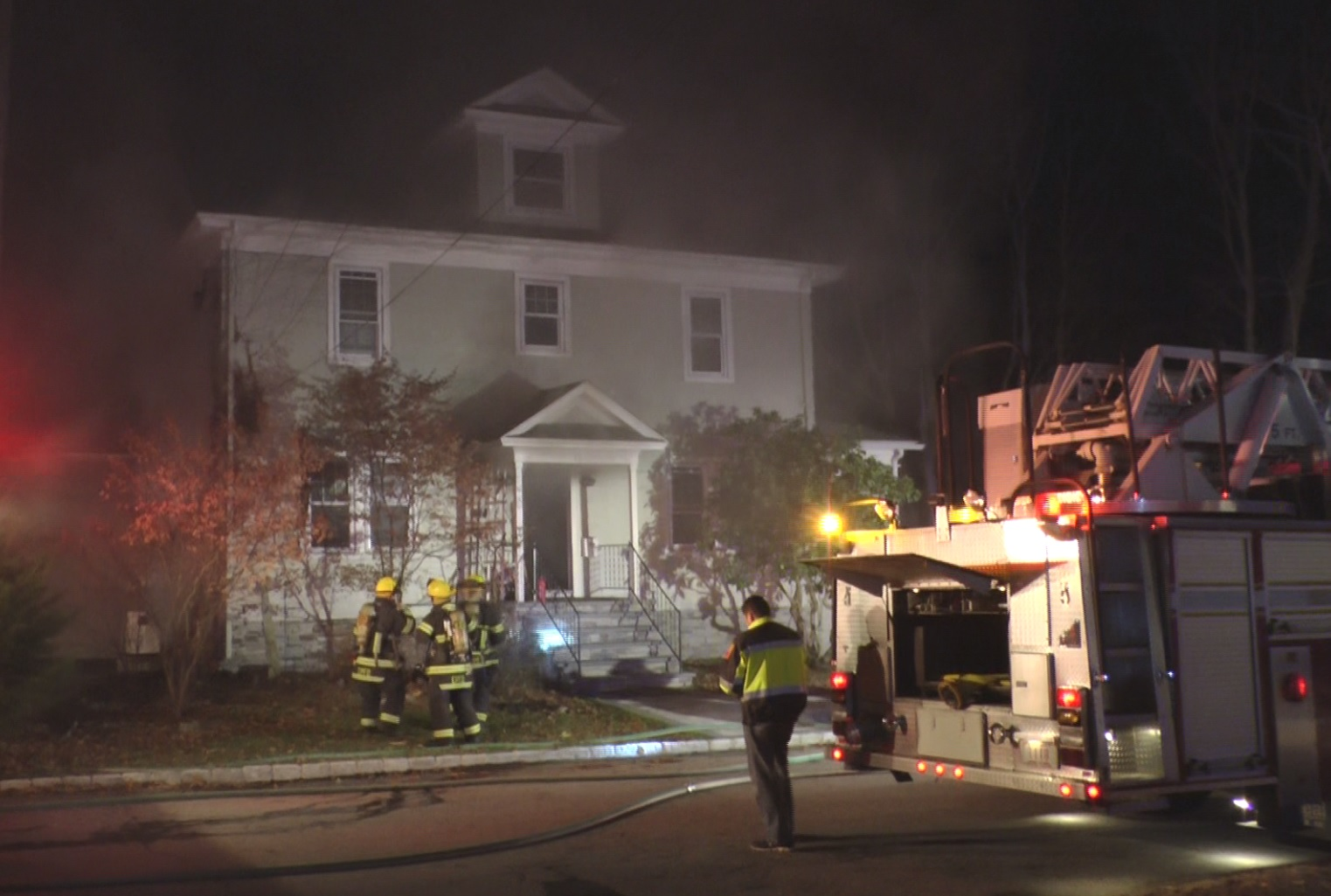 A Seekonk firefighter was injured at a Barrington house fire Wednesday night, a witness told NBC 10 News. (WJAR){ }