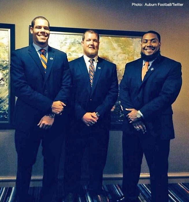 Auburn players in attendance at the 2014 SEC Media Days:  (L-R) C.J. Uzomah, Reese Dismukes and Gabe Wright.