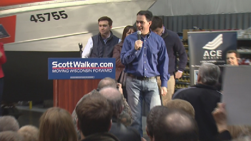 Republican Governor Scott Walker speaks during a re-election campaign rally at ACE Marine in Green Bay, Tuesday, April 15, 2014. (WLUK)