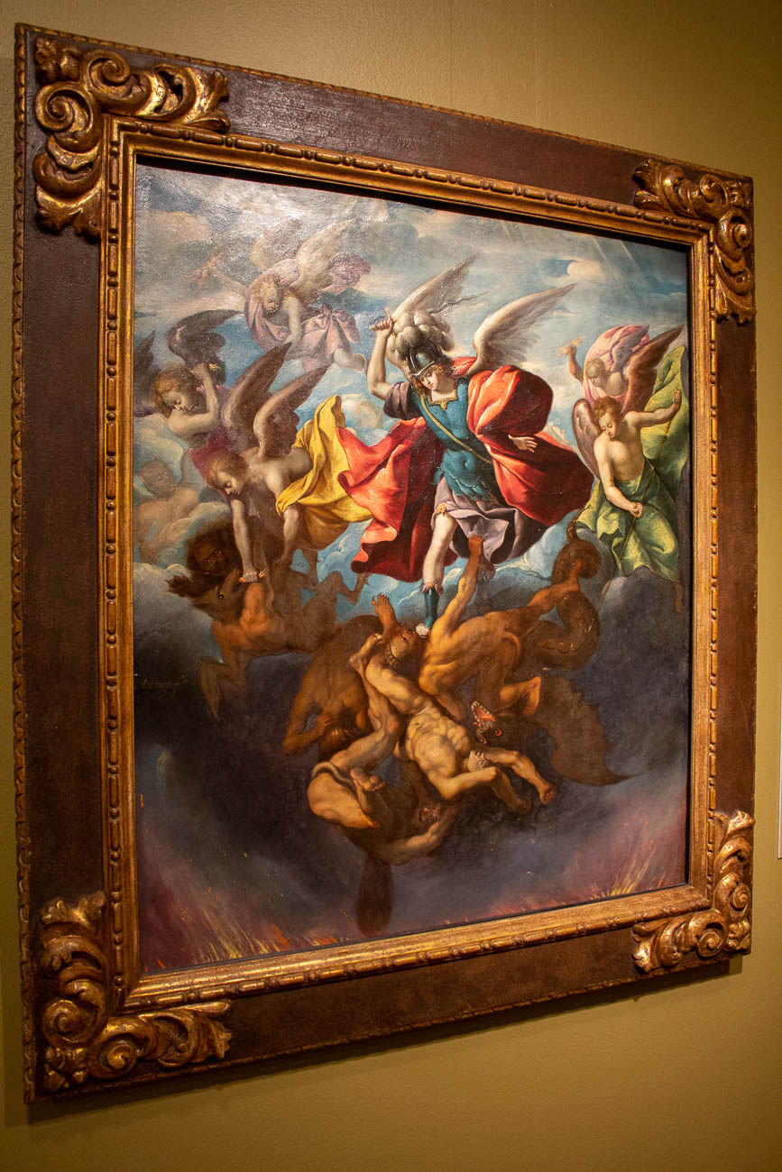 'Saint Michael Striking Down the Rebellious Angels' is one of the three largest known works to be down on copper. Sebastián López de Arteaga painted it circa 1650-52.{&nbsp;}/ Image: Katie Robinson, Cincinnati Refined // Published: 10.26.19 <p></p>