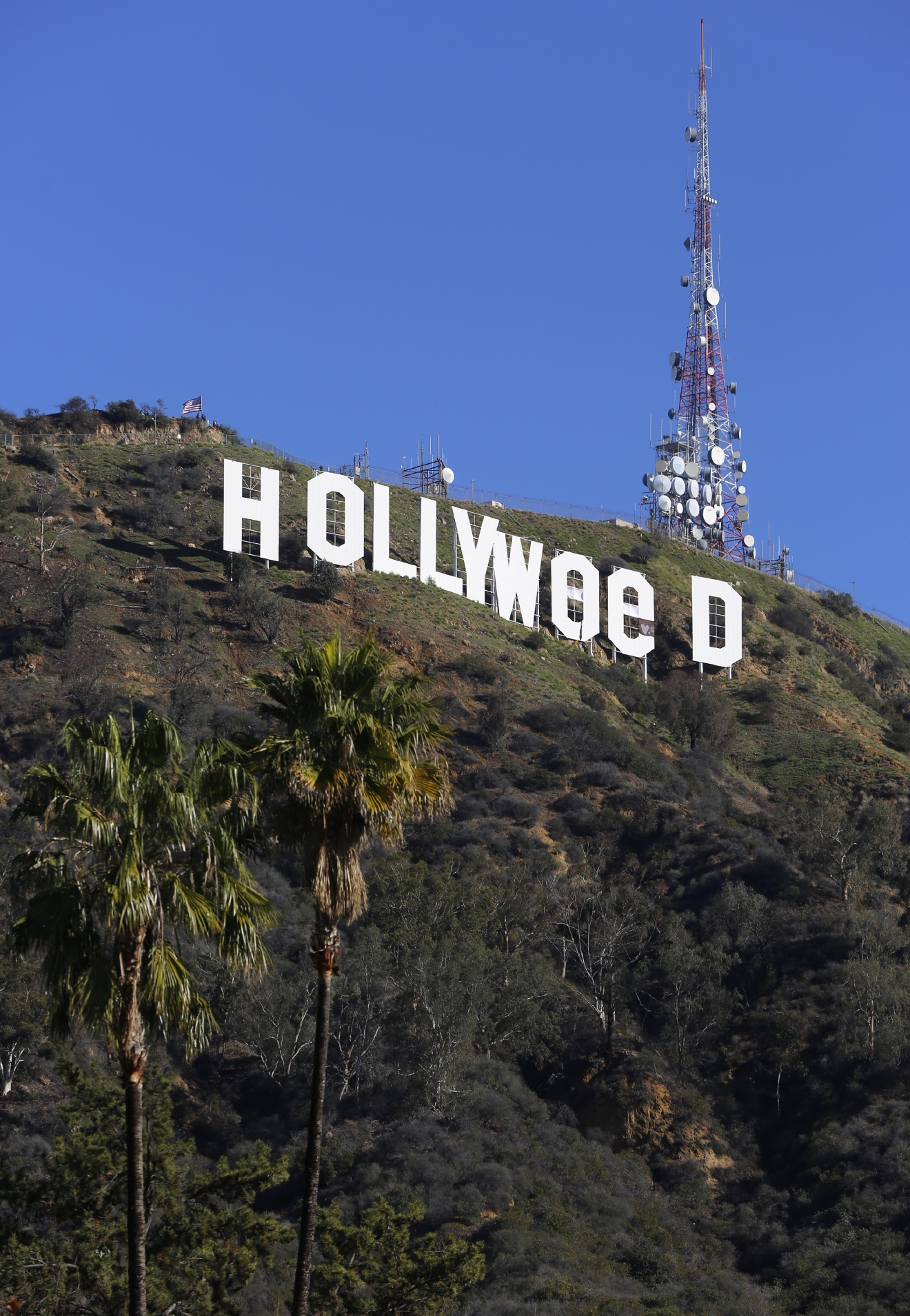 "The Hollywood sign is seen vandalized Sunday, Jan. 1, 2017. Los Angeles residents awoke New Year's Day to find a prankster had altered the famed Hollywood sign to read ""HOLLYWeeD."" Police have notified the city's Department of General Services, whose officers patrol Griffith Park and the area of the rugged Hollywood Hills near the sign. California voters in November approved Proposition 64, which legalized the recreational use of marijuana, beginning in 2018. (AP Photo/Damian Dovarganes)"