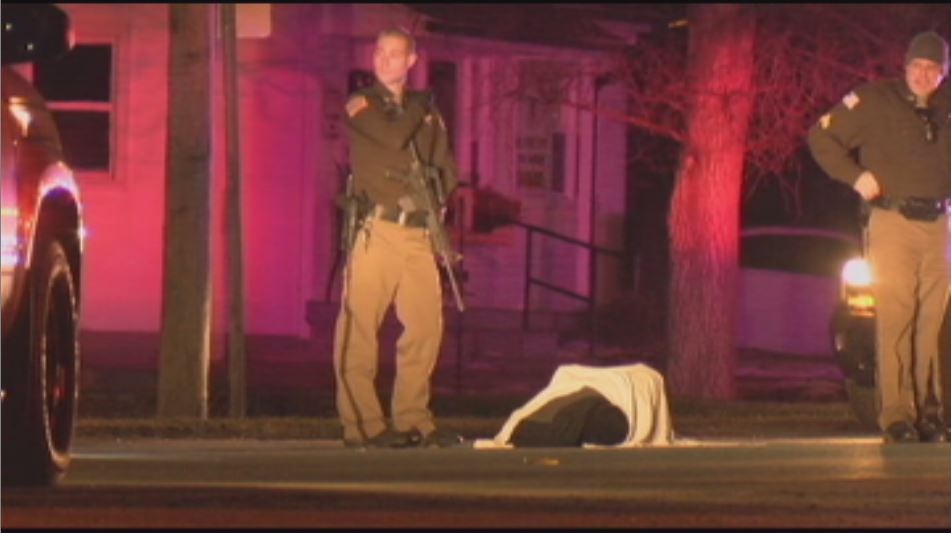Police secure the scene of the officer-involved shooting in Monroe City, MO when Timothy Brokes was taken into custody.