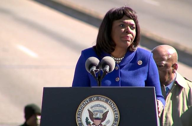Congresswoman Terri Sewell speaking at the Edmund Pettus Bridge Crossing Jubilee in Selma on Sunday, March 3, 2013.