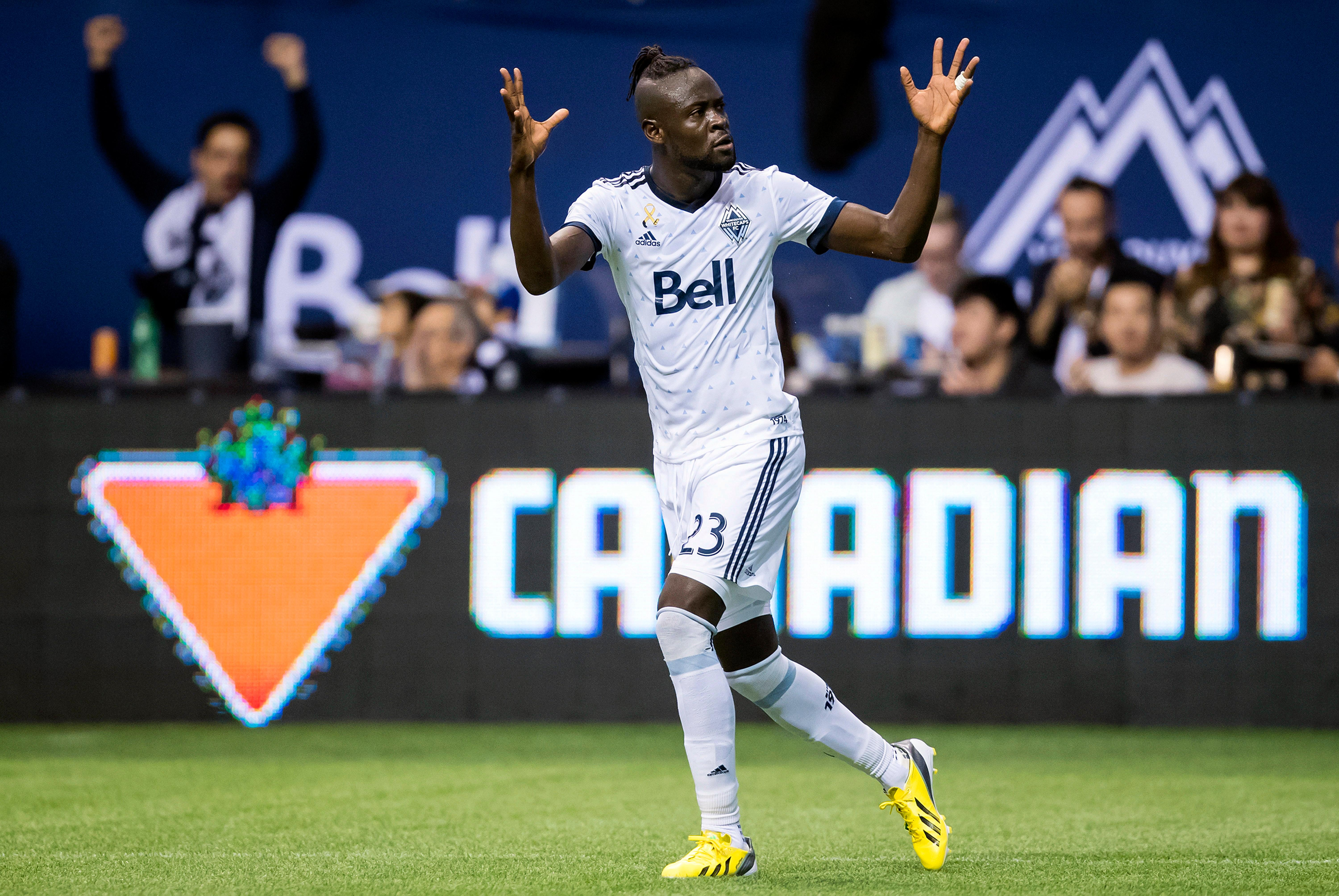 Vancouver Whitecaps' Kei Kamara celebrates his goal against the Seattle Sounders during the first half of an MLS soccer match, Saturday, Sept. 15, 2018, in Vancouver, British Columbia. (Darryl Dyck/The Canadian Press via AP)